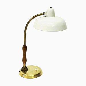 Lampe de Bureau en Chêne et Métal Blanc par Asea, Suède, 1950s