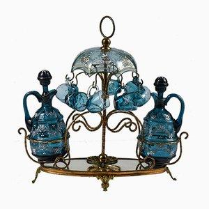 Rosolio Service aus blauem Glas und Metall