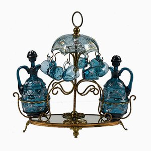 Rosolio Service in Blue Glass and Metal