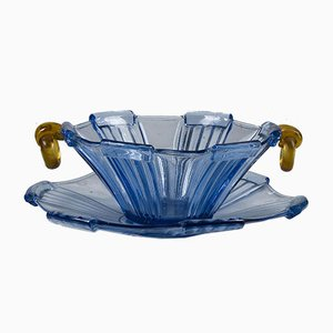 Plate and Bowl in Blue Glass and Yellow Orange, Italy, Mid-19th Century, Set of 2