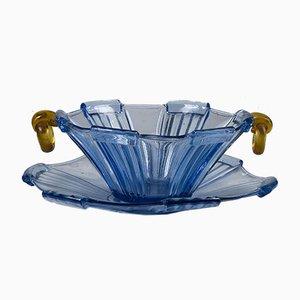 Teller und Schale aus Blauem Glas und Gelb Orange, Italien, Mitte 19. Jh., 2er Set
