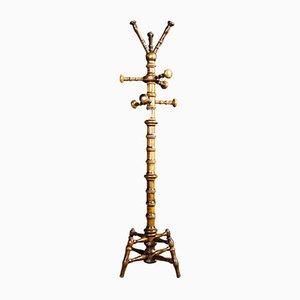 Antike Englische Eichenholz Standgarderobe