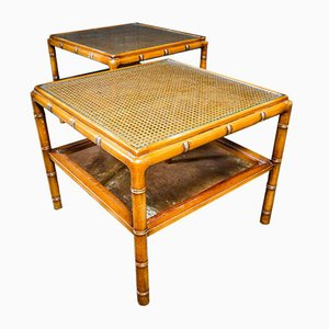 Mesa de centro vintage de falso bambú con hojas de vidrio, años 70