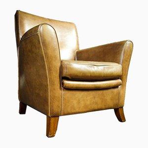 Vintage Beige Leather Baxter Armchair