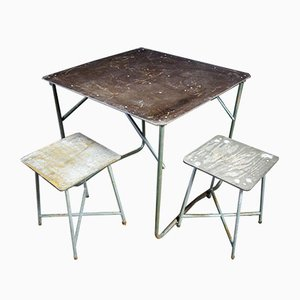 Polish Industrial Folding Table with Bakelite Sheets