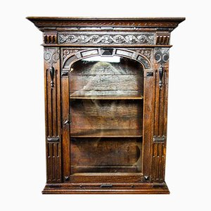 Antique Oak Hang Cabinet with Glass Door and Shelves, 1880s