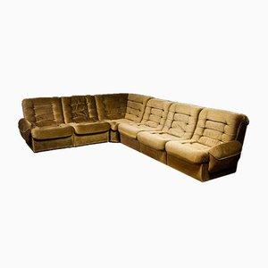 Sofá esquinero modular vintage en marrón, años 70