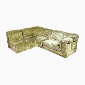 Vintage Modular Green Corner Sofa by Rolf Benz, 1970s