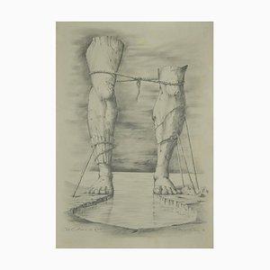 Unknown - The Colossus of Rhodes - Original Bleistiftzeichnung auf Papier - 1989