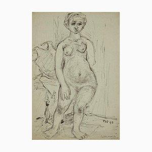 Nude of Woman - Original Ink Drawing by Toti Scialoja - 1943