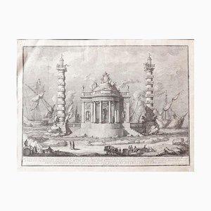 Der Tempel des Neptun - Original Radierung von Giuseppe Vasi - Mitte des 18. Jahrhunderts