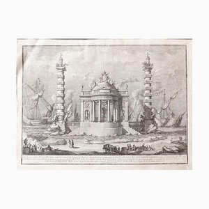 The Temple of Neptune - Original Etching by Giuseppe Vasi - Mid-18th Century