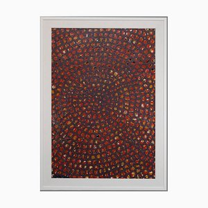 Optical Red Composition - Original Painting by Carlo Montesi - 1966
