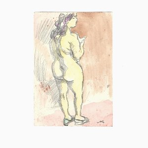 Female Nude - Original Watercolor by Mino Maccari - 1970s