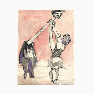 Giraffe Man - Original Watercolor by Mino Maccari - 1970s