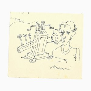 The Scientist - Original Ink Drawing by Mino Maccari - 1970s