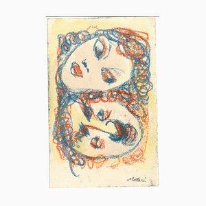 Man and Woman - Original Pastel Drawing by Mino Maccari - 1960s