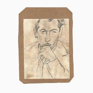 Mino Maccari, Reflecting Man, Pencil, 1970s