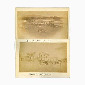 Sconosciuti, vedute antiche di Città del Guatemala, foto, 1880 circa, set di 3
