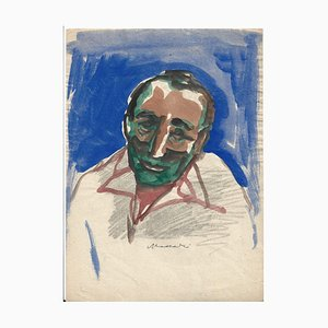 Portrait in Colours- Original Mixed Media Zeichnung von Mino Maccari - 1970er