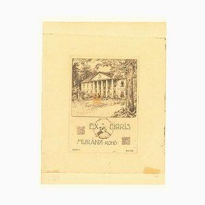 Arpad Basch - Ex Libris Muranyi Roho - Original Holzschnitt Druck - Frühes 20. Jahrhundert