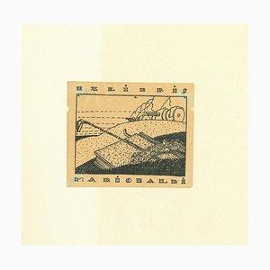 Unknown - Ex Libris Mario Baldi - Original Holzschnitt Druck - Mitte 20. Jahrhundert