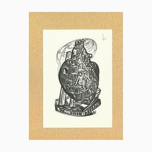 Unknown - Ex Libris Dr. Jilek Zsuzsa - Original Woodcut Print - Early 20th Century