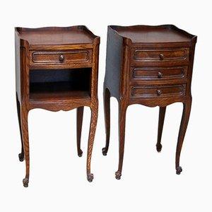 Oak Bedside Cabinets, Set of 2