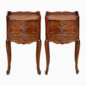 French Walnut Bedside Cabinets, Set of 2