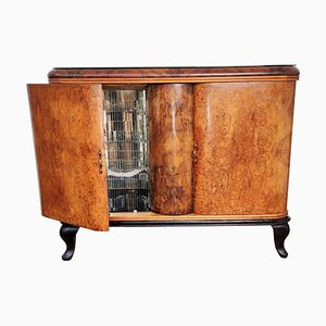 Italian Walnut Burl and Mirror Mosaic Dry Bar Cabinet, 1940s