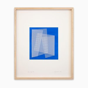 Moiré Azur Blue, Abstract Painting, 2019, Acrylic on Paper