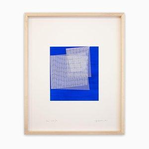 Moiré Kobaltblau, Abstrakte Malerei, 2019, Acryl auf Papier