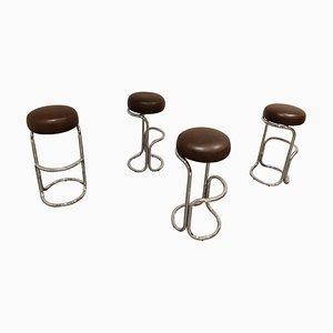 Sgabelli da bar vintage in metallo cromato, anni '70, set di 4