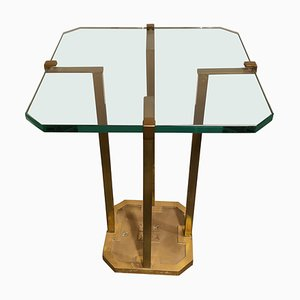 Model T18 Glass and Brass Side Table by Peter Ghyczy