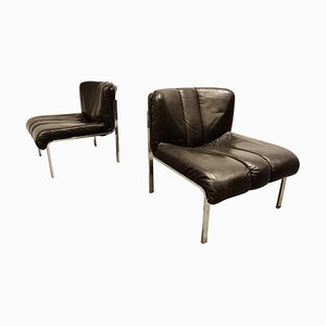 Vintage Leather and Chrome Eurochair Lounge Chairs by Girsberger, 1970s, Set of 2