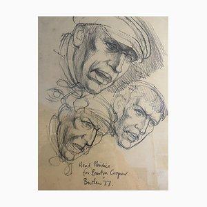 Art, James Butler Head Studies for Burton Cooper, 1977, Pencil