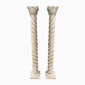 Antique Carved Architectural Doric Columns, Set of 2