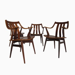 Curved Teak Scandinavian Dining Chairs, Set of 4