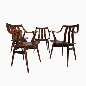Geschwungene Skandinavische Esszimmerstühle aus Teakholz, 4er Set