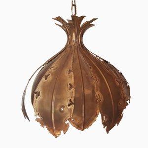 Brutalist Refined Brass Ceiling Lamp by Svend Agne Sorensen