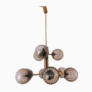 Sputnik Brass & Murano Glass Chandelier