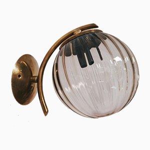 Murano und Messing Wandlampen, 2er Set