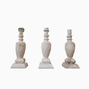 Mid-Century Swedish White Marble Table Lamps, Set of 3