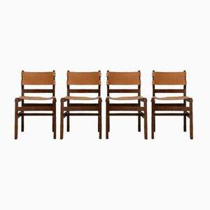 Französische Mid-Century Leder Esszimmerstühle von Maison Regain, 4er Set