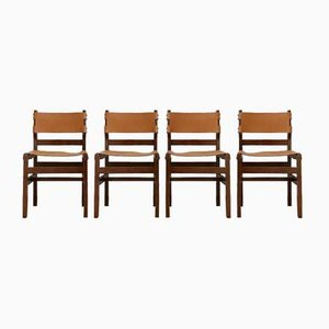 Mid-Century French Leather Dining Chairs from Maison Regain, Set of 4