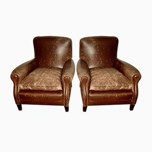 Italian Leather Wing Chair, 1940s, Set of 2