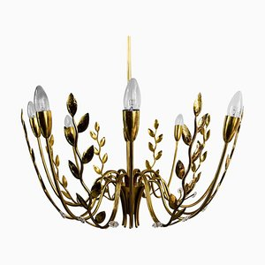 Hammered Leaves 8-Arm Chandelier Attributed to Lobmeyr, 1950s