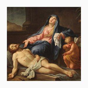 Pintura religiosa italiana antigua, deposición de Cristo, siglo XVIII