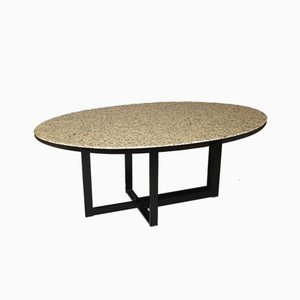 Granite and Black Lacquered Steel Table, 1980s