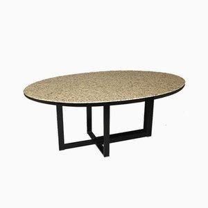 Tisch aus Granit und Schwarz Lackiertem Stahl, 1980er